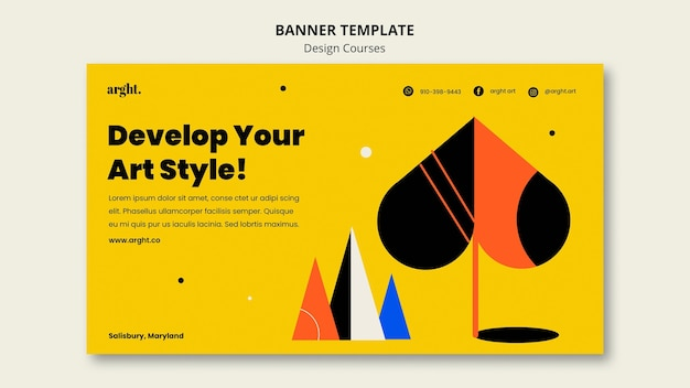 Horizontal banner template for graphic design classes Free Psd