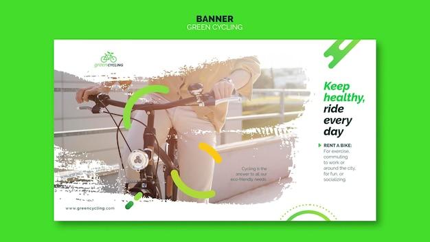 Horizontal banner template for green biking Free Psd