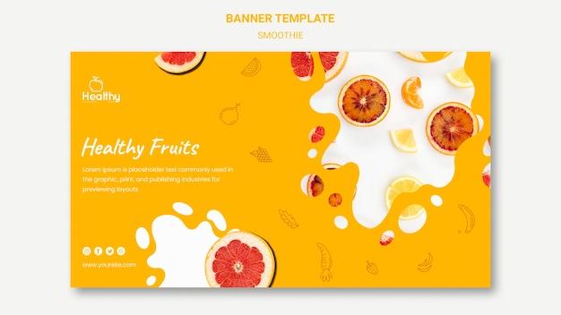 Modello di banner orizzontale per frullati di frutta sani Psd Gratuite