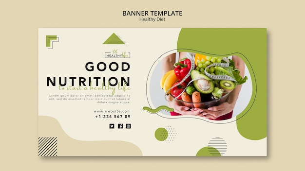Horizontal banner template for healthy nutrition Premium Psd