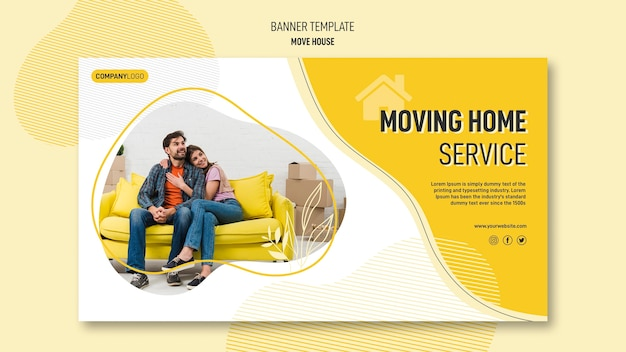 Horizontal banner template for house relocation services Free Psd
