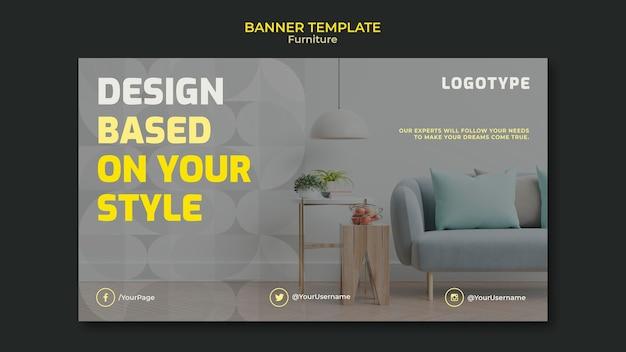 Modello di banner orizzontale per società di interior design Psd Gratuite