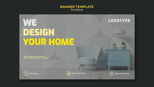 Horizontal banner template for interior design company Free Psd