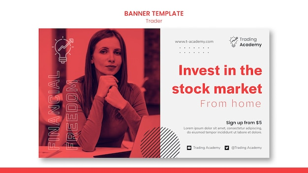 Horizontal banner template for investment trader occupation Free Psd