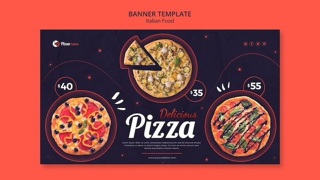Horizontal banner template for italian food restaurant Free Psd