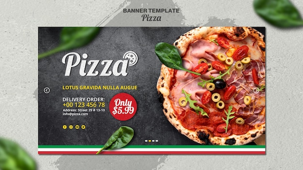 Horizontal banner template for italian pizza restaurant Free Psd