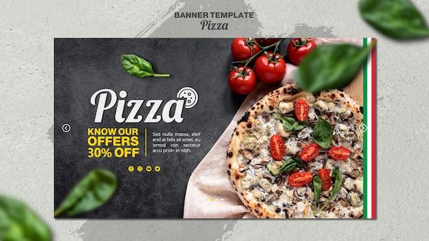 Horizontal banner template for italian pizza restaurant Free Psd
