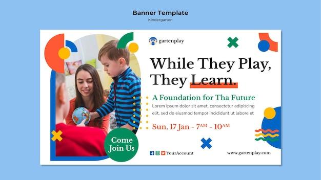 Horizontal banner template for kindergarten with children Free Psd