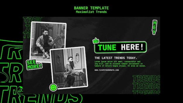 Horizontal banner template for maximalist trend Free Psd
