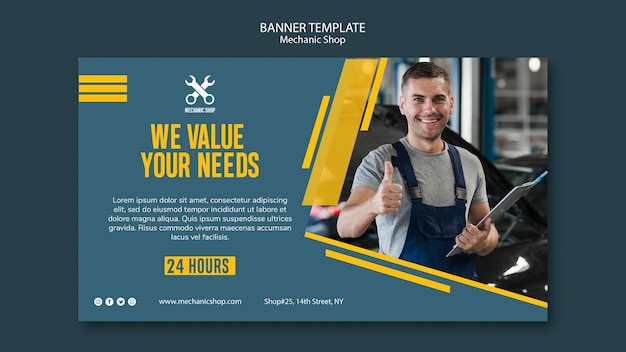 Horizontal banner template for mechanic profession Free Psd