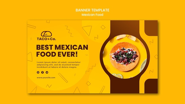 Horizontal banner template for mexican food restaurant Free Psd