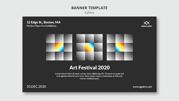 Horizontal banner template for modern art exposition Free Psd