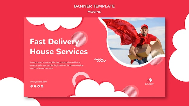 Horizontal banner template for moving company Free Psd