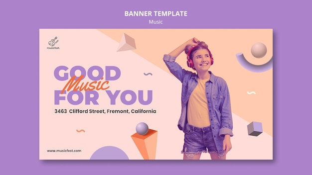 Horizontal banner template for music with woman using headphones and dancing Free Psd