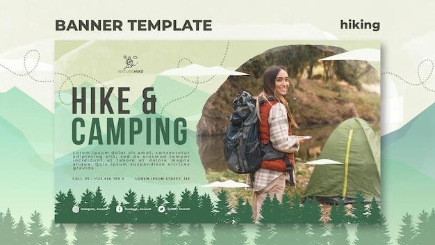 Modello di banner orizzontale per escursioni nella natura Psd Gratuite