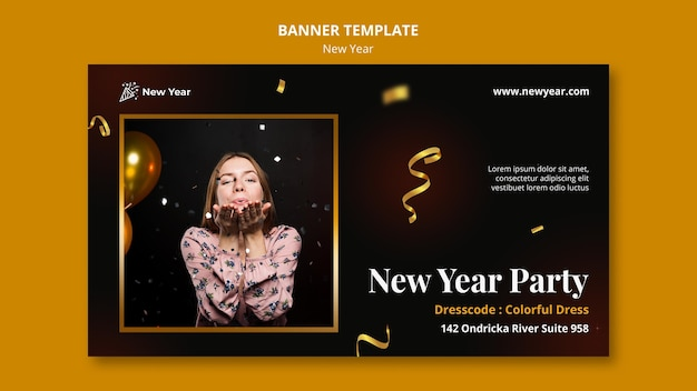 Horizontal banner template for new year party with woman and confetti Free Psd