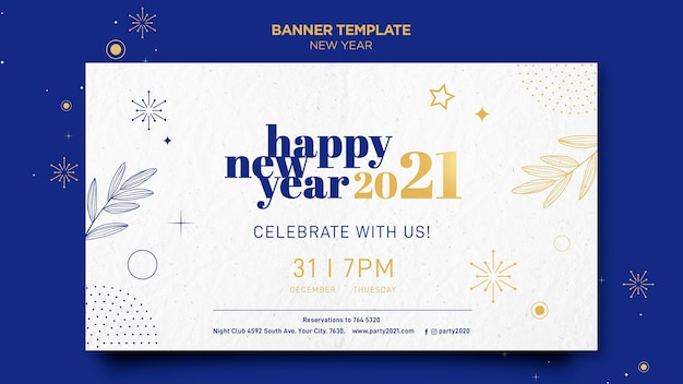 Horizontal banner template for new years party celebration Free Psd