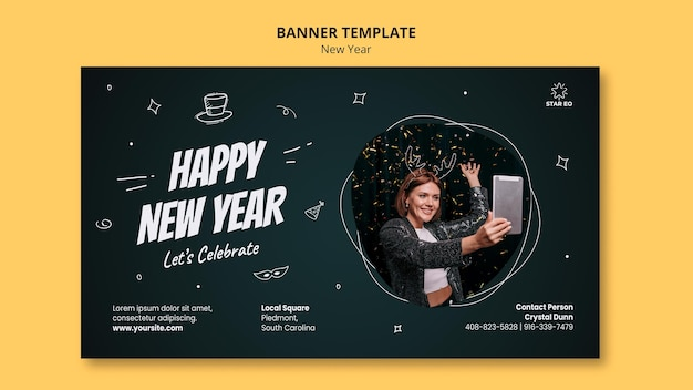 Horizontal banner template for new years party Free Psd