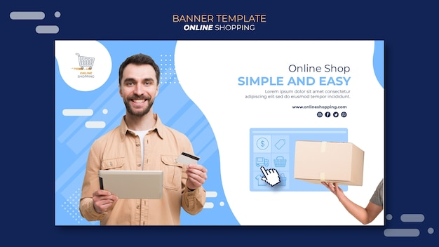 Horizontal banner template for online shopping Free Psd