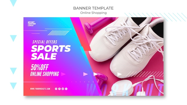 Horizontal banner template for online sports sale Free Psd