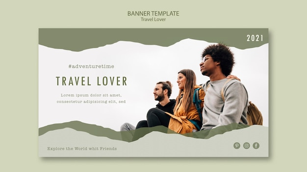 Horizontal banner template for outdoors traveling Free Psd