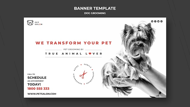 Horizontal banner template for pet grooming company Free Psd