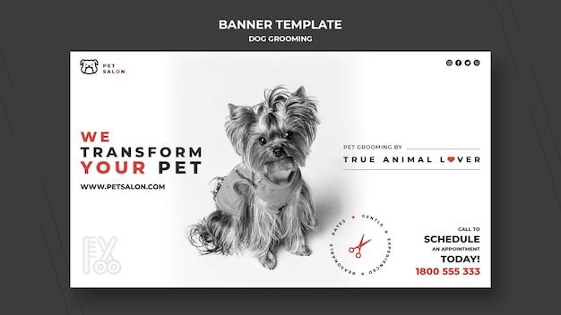 Modello di banner orizzontale per azienda di toelettatura per animali domestici Psd Gratuite