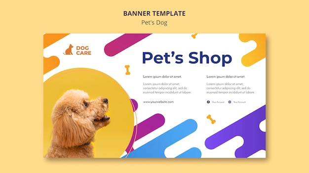 Horizontal banner template for pet shop business Free Psd