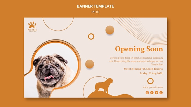 Horizontal banner template for pet shop with dog Free Psd