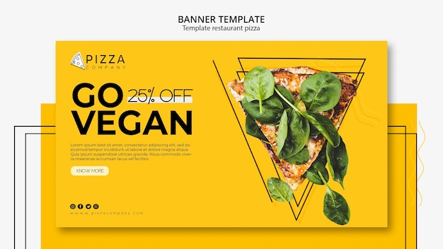 Horizontal banner template for pizza restaurant Free Psd