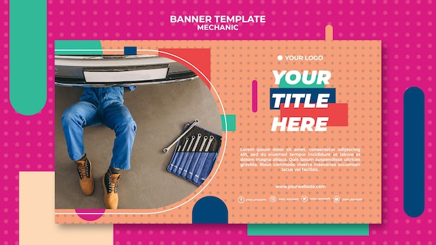 Horizontal banner template for professional mechanic Free Psd
