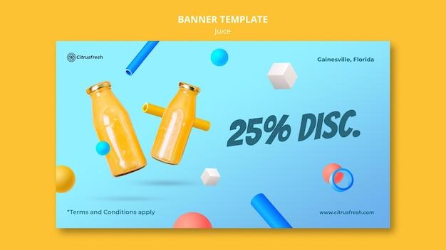Modello di banner orizzontale per rinfrescare il succo d'arancia in bottiglie di vetro Psd Gratuite