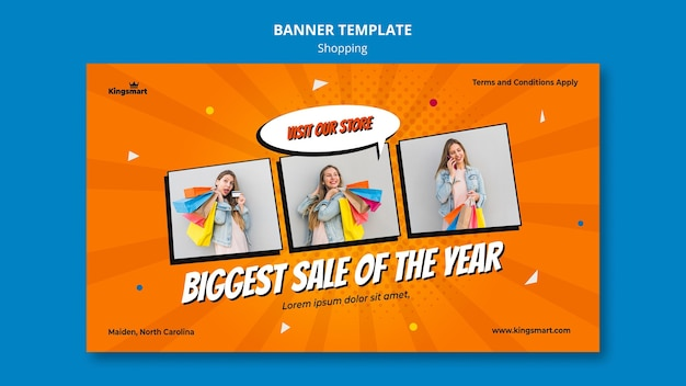 Horizontal banner template for shopping with woman holding shopping bags Free Psd