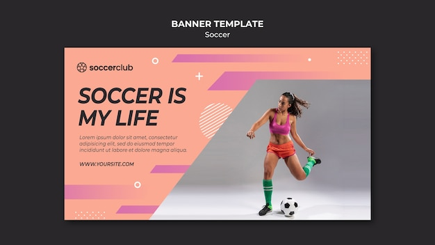 Horizontal banner template for soccer player Free Psd