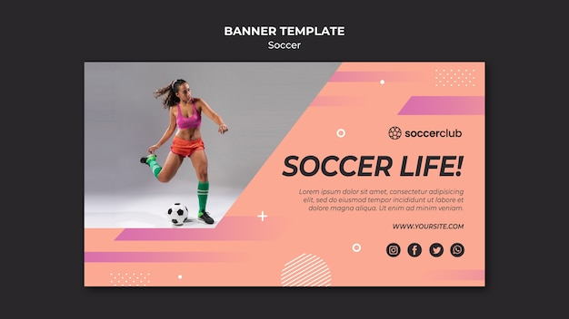 Horizontal banner template for soccer Free Psd