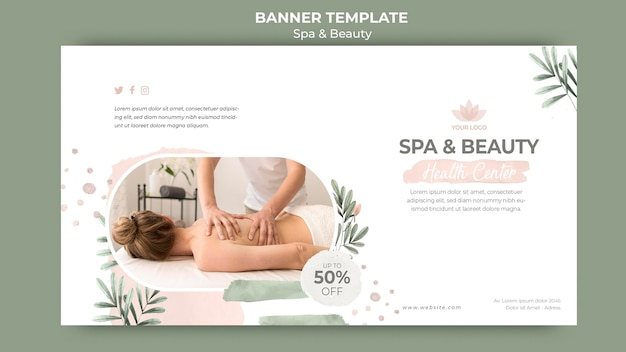 Horizontal banner template for spa and beauty Free Psd