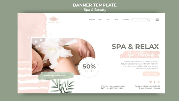 Horizontal banner template for spa and relaxation Free Psd