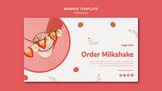 Horizontal banner template for strawberry milkshake Free Psd