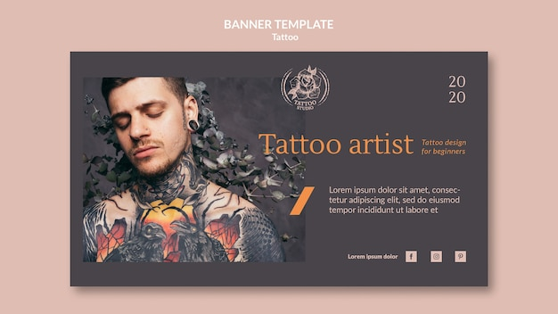 Horizontal banner template for tattoo artist Free Psd