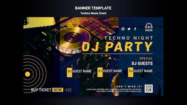 Modello di banner orizzontale per festa notturna di musica techno Psd Gratuite