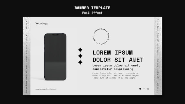 Modello di banner orizzontale per tecnologia con effetto lamina Psd Gratuite