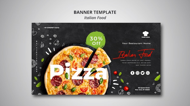 Horizontal banner template for traditional italian food restaurant Premium Psd