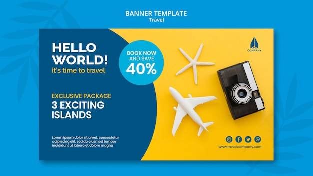 Horizontal banner template for vacation traveling Free Psd