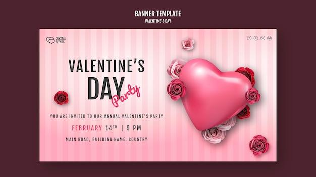Modello di banner orizzontale per san valentino con cuore e rose rosse Psd Gratuite