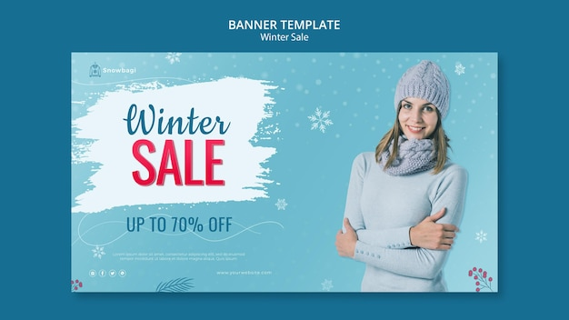 Horizontal banner template for winter sale with woman and snowflakes Free Psd