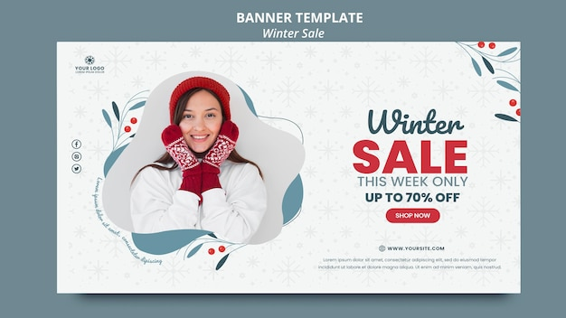 Horizontal banner template for winter sale Free Psd