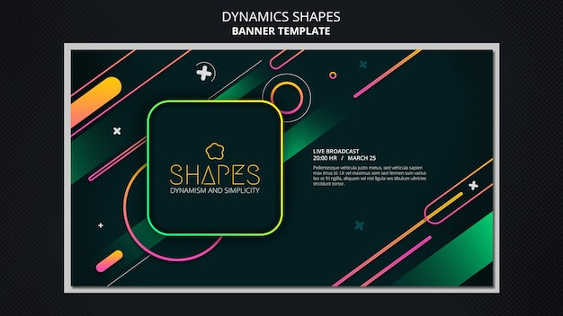 Horizontal banner template with dynamic geometric neon shapes Premium Psd