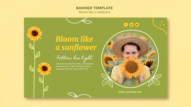 Horizontal banner template with sunflowers and woman Free Psd