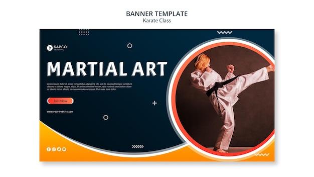 Modello di banner orizzontale per classe di karate femminile Psd Gratuite
