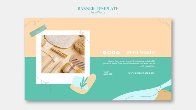 Horizontal banner template for zero waste Free Psd